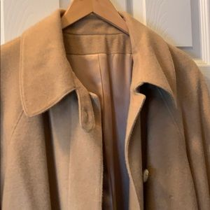 Well made tan winter coat 100% camel hair.